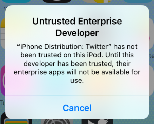 """Untrusted Enterprise Developer"" message on iPhone in iOS 10"