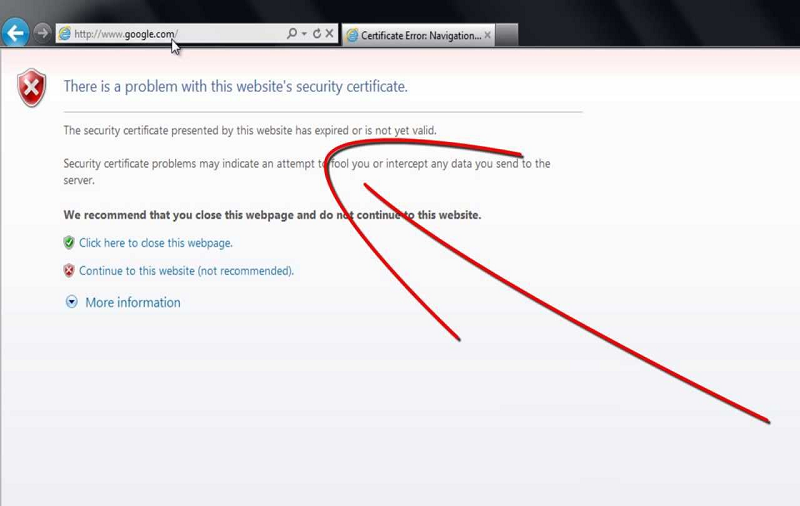 "Solved: ""There is a problem with this website\'s security certificate ..."