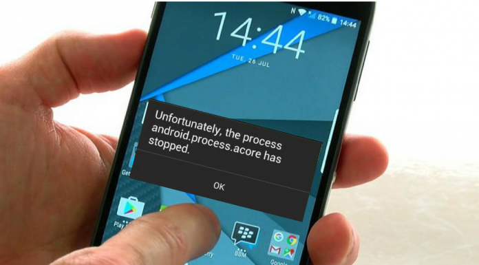 How to fix 'the process android.process.acore has stopped' error