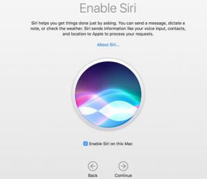 Enable Siri in MacOS Sierra