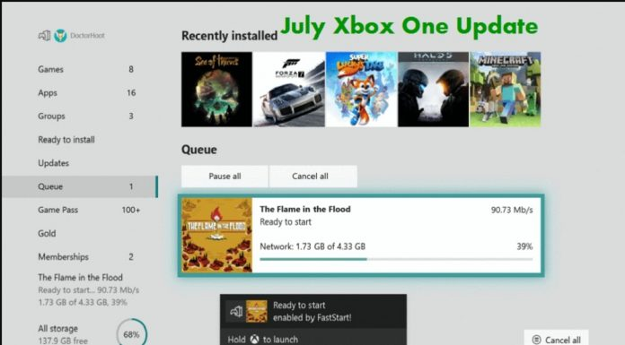 July Xbox One Update
