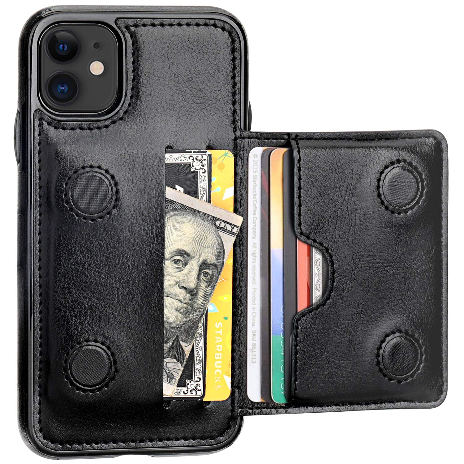 Premium leather kickstand wallet case by KIHUWEY for iPhone 11