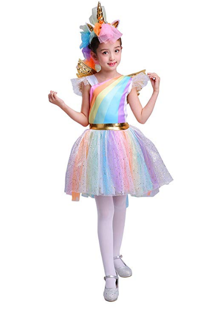 Halloween Girl's Rainbow Unicorn Costume