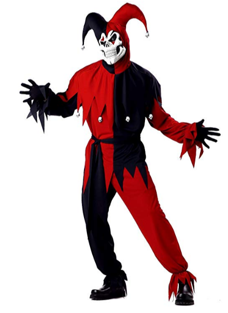 Men's Adult- Red Evil Jester Costume
