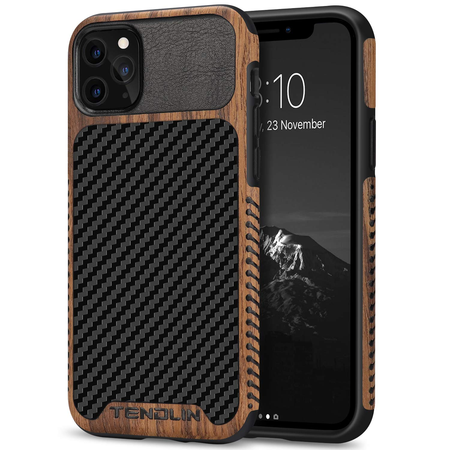 iPhone 11 Pro Wood Grain and Carbon Fiber Case